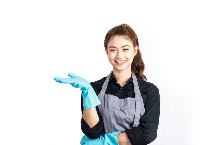 Beautiful Attractive Asian Maid smile and open hand palms good hand sign for display product feeling happiness and confident,Isolated on white background,Cleaning Service Concept