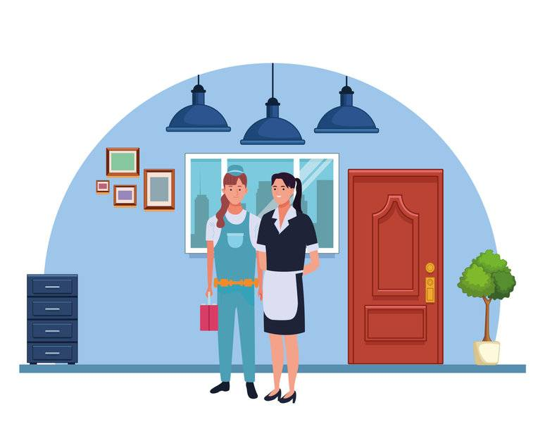 Professionals workers women pumbler and maid smiling cartoons in the office with drawers and cabinets ,vector illustration graphic design.